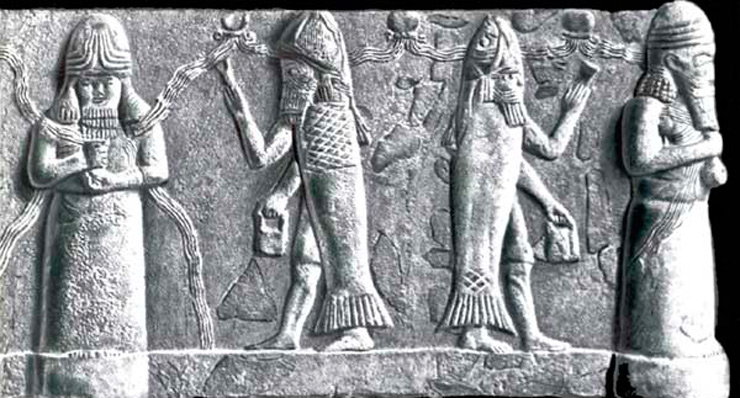 Ануннакам пришлось «спрятаться», превратившись в «Рыб», в надежде на реанимацию, в мировых водах праматери мира Тиамат (она слева)
